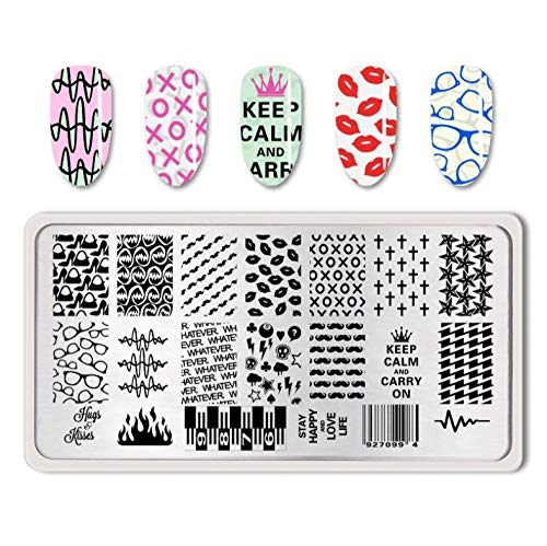 Nail Art Stamp Template Classic Lip Cross Pattern Moustache Image Plate Nail Stamp Plates