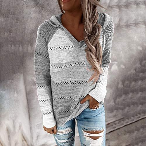 AIORNIY Damenpullover Langarm Elegant Damen Tops Winter Casual Patchwork V Ausschnitt Kapuzen Oberteile Herbst Sexy Bluse Frauen