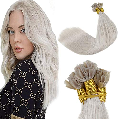 LaaVoo Extension Capelli Veri Cheratina #60 Platinum Blonde 100% Remy Human Hair U Tip Hair Capelli Naturali Lisci 14 Pollici/35cm 50 ciocche 50g/pack