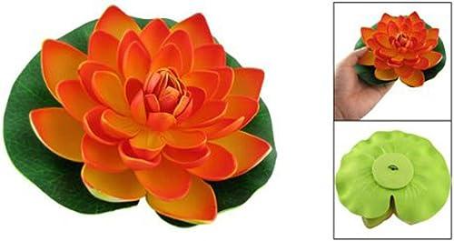popular Mallofusa Artificial Aquarium Plant Decor outlet sale Floating outlet sale Plastic Blooming Lotus Fish Tank Decoration Orange 17CM online