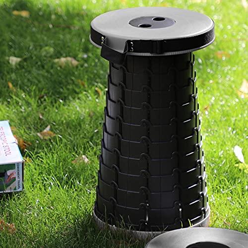 Freshtour Tragbarer Klapphocker Campinghocker Faltbar Hocker Höhenverstellbar Mini Teleskophocker Belastung 225kg für Innenbereich und Outdoor, Küche, Garten, Camping, Grillen, Angeln, Wandern(Grau)