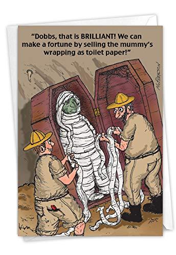NobleWorks - Funny Card for Birthdays - Quarantine Humor, Happy Bday Notecard with Envelope - Toilet Paper Mummy C3704BDG