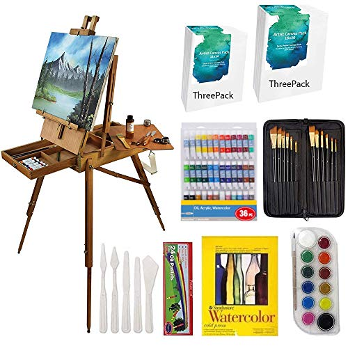Value Art Set with Hardwood French Easel, Paints, Stretched Canvases, Brush Sets, Drawing Supplies and More