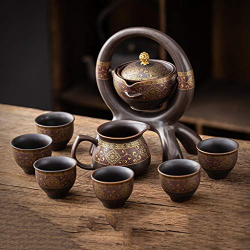 SHYOD Juego de té semiautomáutico de molienda de Piedra de cerámica, té Creativo de Kung fu del Juego de té Creativo Ceremonia de té Suministros