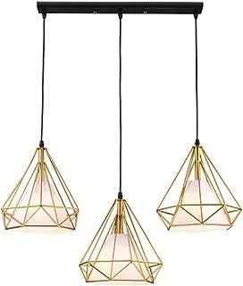 STOEX Lustre Suspension industrielle 25cm en forme Diamant Doré Lampes de plafond Abat-Jour en Fer Luminaire Corde Ajustab...