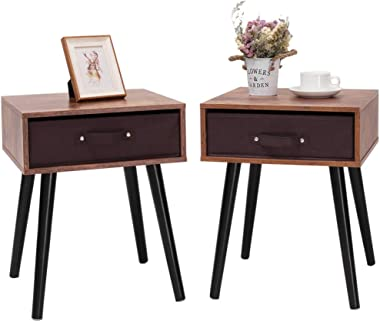 IWELL Mid-Century Nightstand Set of 2, End Table with Drawer, Wood Bedside Table Side Table for Bedroom, Rustic Brown BZX005F