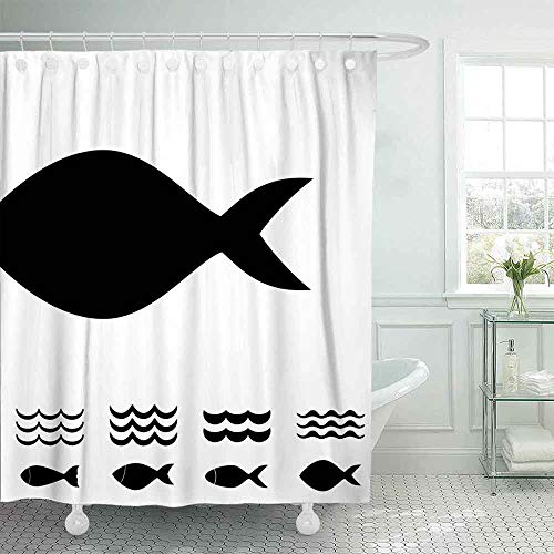 Shorping 72X72 Fun Shower Curtain, Bath Shower Curtains Cute Shower Curtain Set Fish Waves Icon Isolated Black Logo Collection Unique Shower Curtain Country Shower Curtain Outhouse Shower Curtain