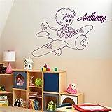 BailongXiao Kinderzimmer Wandaufkleber Wandtattoo Name Junge Zimmer Flugzeug Vinyl Aufkleber...