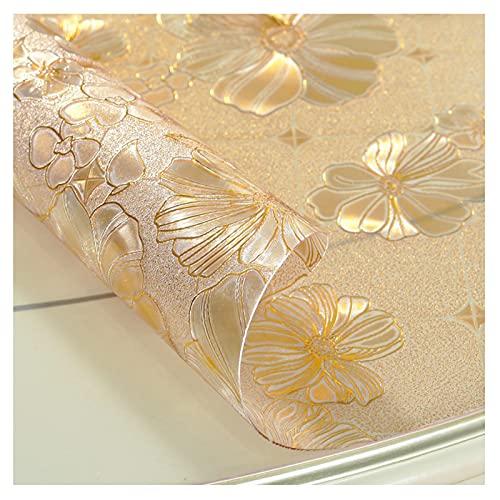 SHRMBS147 Mantel Transparente De 1 Mm De Espesor, Caucho Plastificado De PVC Cuadrado, Gofrado, Impermeable y Antiincrustante, Disponible En Dorado/Negro/Rosa (90x160cm(36x63in),Lotus)