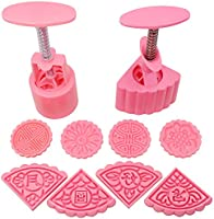 2 Sets Mooncake Mold Press 50g with Different Stamps, SENHAI Flower and Triangle Shape Decoration Tools for Baking DIY...