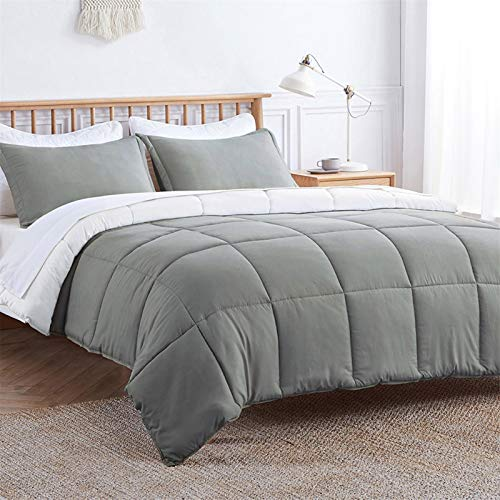 VEEYOO Duvet King Size - All Season Soft Quilted Down Alternative Duvet Insert with Corner Tabs - Plush Microfiber Fill - Warmth Hypoallergenic Bed Comforter Set 3 Pieces, Grey/White