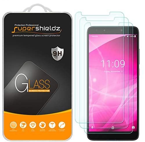 (3 Pack) Supershieldz for T-Mobile (Revvl 2 Plus) Tempered Glass Screen Protector, Anti Scratch, Bubble Free