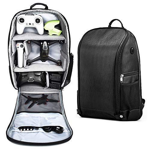 PONYRC Backpack for DJI FPV Combo, Waterproof Shockproof Shoulder Bag Case for DJI FPV Racing Drone, Goggles V2, Remote Controller 2,Motion Controller,Battery & Accessories (Black Bag with Grey Inner)