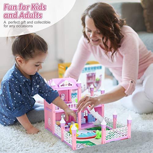 KAINSY Casa Bambole,314PCS Casa delle Bambole per Bambina Giocattolo dei Bambini 4 Piani con Mobili e Accessori Completi e Bambole