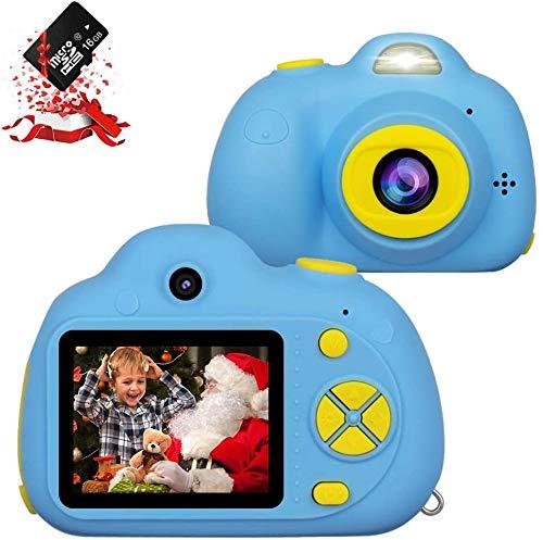 Kinderkamera, Digitalkamera für Kinder mit 8 Megapixeln 1080P HD, Kinderkamera-Videorecorder mit 16 GB SD-Karte,Geburtstagsfest Neujahrs-Weihnachtsspielzeuggeschenk für Kinder Jungen Mädchen,Blau
