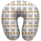 YSamuel Lustige Katze Taco Pizza Cartoon Muster Memory Foam Nackenkissen Bequeme weiche U-Form...