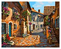 大人のための数字で塗る子供たち初見キットDIYキャンバス油絵アクリル油絵クリスマスハロウィーンルーム壁の装飾フレームレス - 小さな町 (Size : 40x50cm)