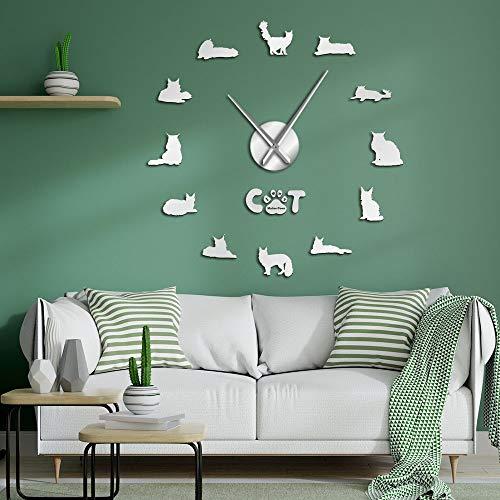 The Gentle Giant Maine Coon Relojes de pared DIY Cat Silhouette Wall Art Stickers Decorativo Reloj de pared grande de estilo contemporáneo (Plata, 37 pulgadas)