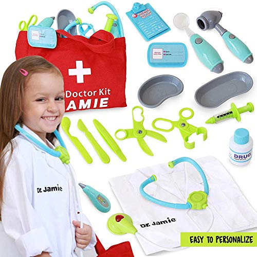 Image of Pretend Play Toy Doctors Kit for Kids w/ Customizable Doctor Costume - Playset Includes Light Up Stethoscope, Bandaids, Thermometer & More - Toddler Toys for Learning & Educational Fun