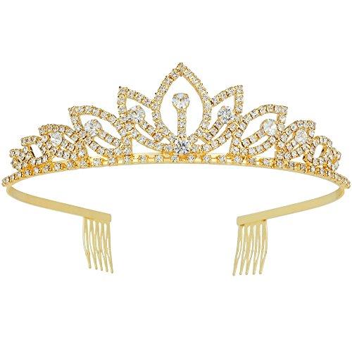 Wedding Tiara with Comb Bridal Shining Rhinestones Crystal Headband...