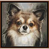 Chihuahua Portrait ~ タペストリーパターン [PDF] Cross Stitch PDF Pattern (Dog}