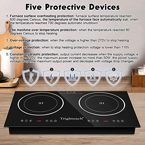 Product Image 6: Trighteach Portable Induction Cooktop(Double Countertop Burner) 2200W Electric Stove with Digital Touch Sensor and Kids Safety Lock, 9 Power Levels Induction Cooker Suitable for Magnetic Cookware