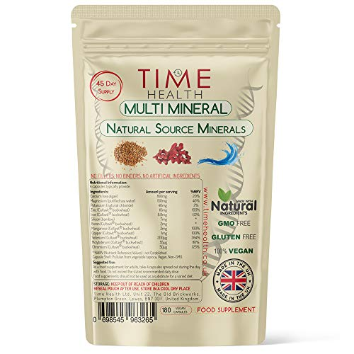 Daily Multi Mineral - Natural Source & Plant Based - Contains Ionic and Trace Minerals - Zero Additives - UK Manufactured - Pullulan (180 Capsule Pouch)