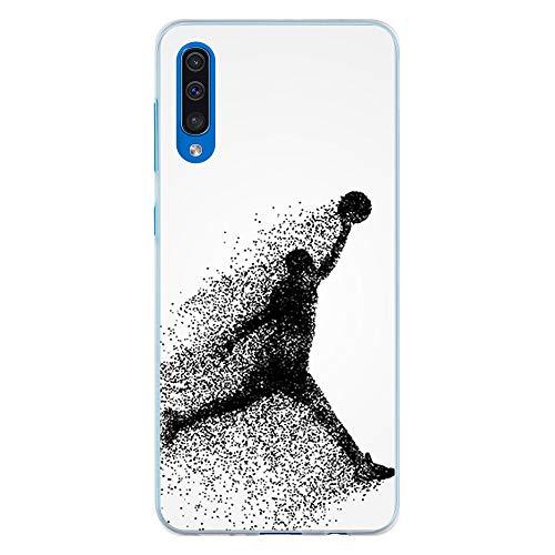 BJJ SHOP Funda Transparente para [ Samsung Galaxy A50s / Samsung Galaxy A30s ], Carcasa de Silicona Flexible TPU, diseño : Jugador de Baloncesto Abstracto Saltando