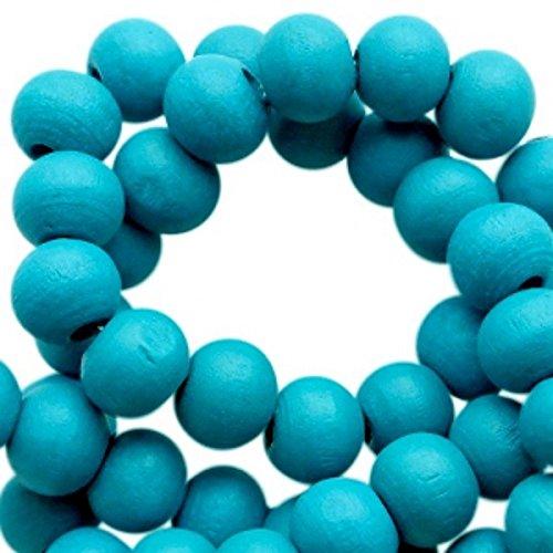 Sadingo houten parels donkerblauw, kralen met gat om te knutselen, sieraden zelf maken, armband, ketting - 50 stuks - 8 mm