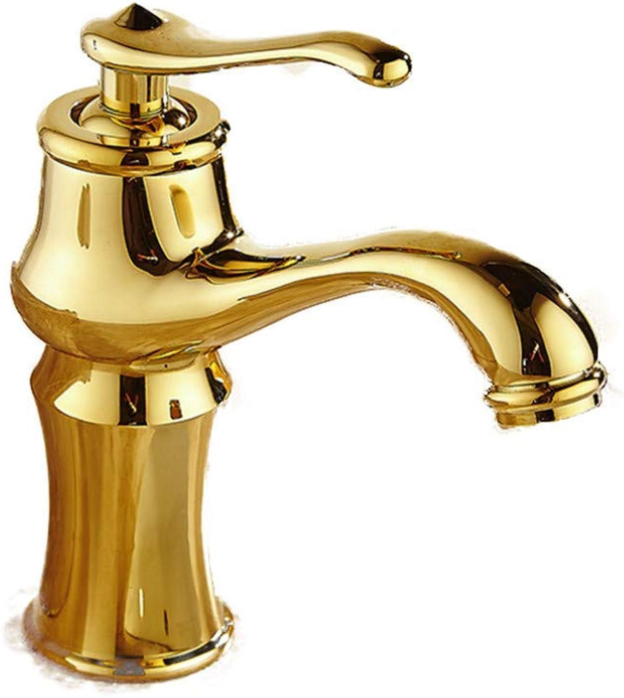 MARCU Home Armaturen Bad Waschbecken Gold Einlochmontage Kalt- und Warmwasserhahn Waschtischmischer Wasser sparendes Mischventil