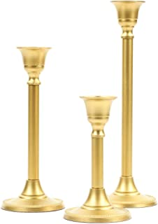 Koyal Wholesale Gold Taper Candle Holder Set of 3, Candlestick Set, Tall Candle Holders