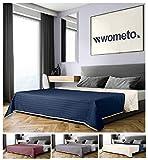 wometo Tagesdecke 220x240 cm OekoTex - Microfaser-Bezug blau beige wollweiß wattiert gesteppt Wende-Design XXL Sofa Couch Bett Bettüberwurf