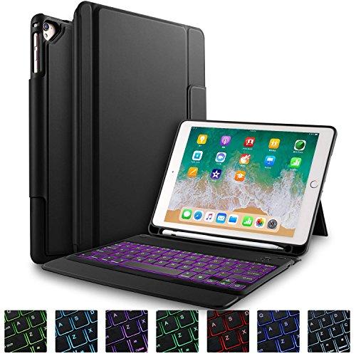 IVSO 7-fabige Beleuchtete Tastatur Hülle für iPad 9.7 Zoll 2018(6. Gen.)/2017(5. Gen.)/iPad Pro 9.7/ iPad Air/iPad Air 2, [QWERTZ Deutsches], Schutzhülle mit Wireless Tastatur, Schwarz