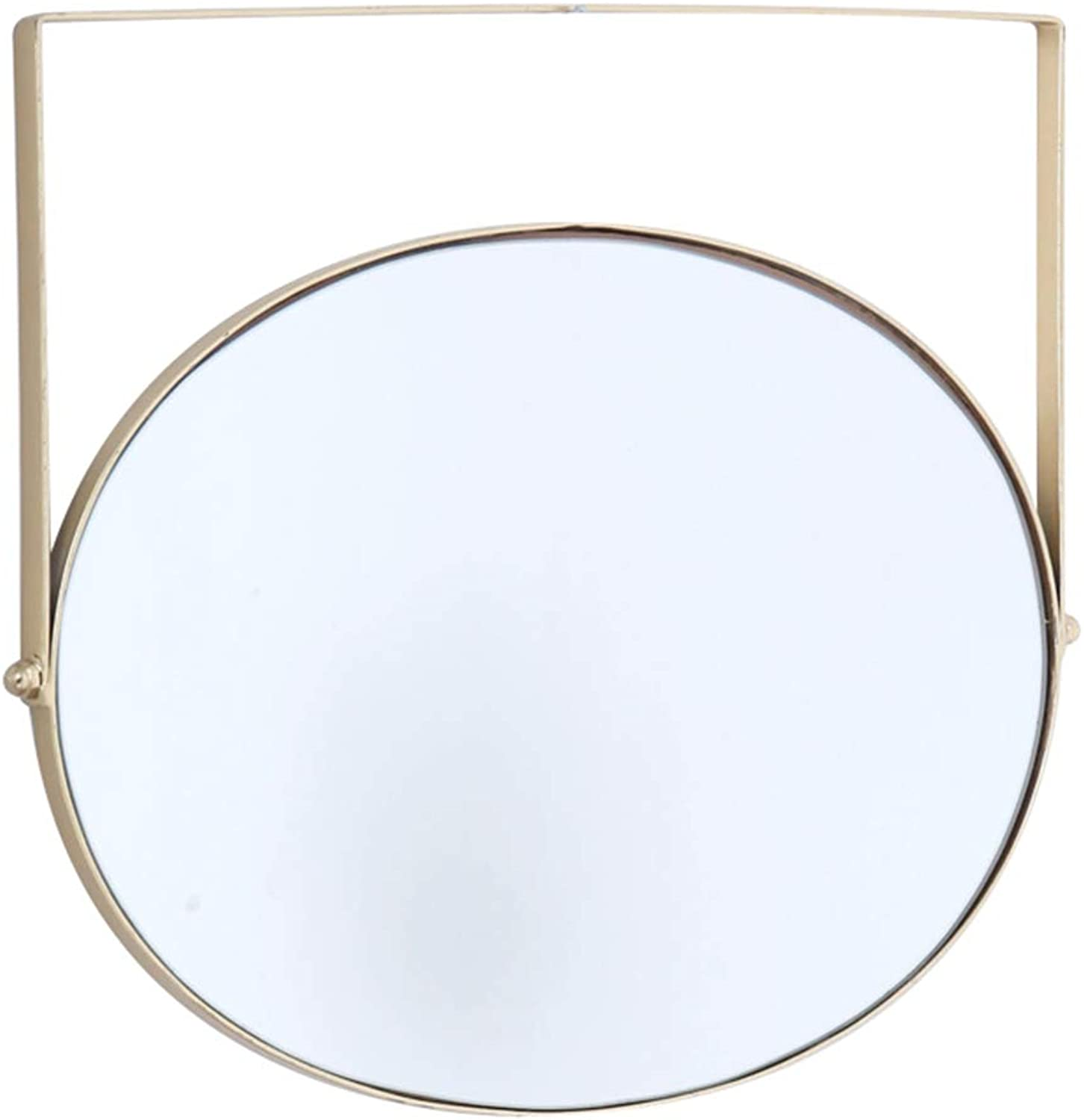 YANZHEN Mirror Wall-Mounted redatable Industrial Wind Bathroom Oval Ultra-Clear Simple European Style Anti-Rust Iron (color   gold, Size   48x43cm)