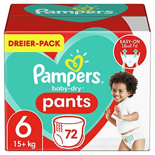 Pampers Größe 6 Baby Dry Windeln Pants, 72 Stück, Für Atmungsaktive Trockenheit (15+kg)
