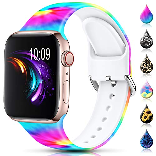 Sport Band Compatible with Apple Watch Bands 38mm 40mm 42mm 44mm for Women Men,Floral Silicone Printed Fadeless Pattern Replacement Strap Band for iWatch Series 3 6 5 4 2 1 SE,Tie Dye,42/44 mm S/M