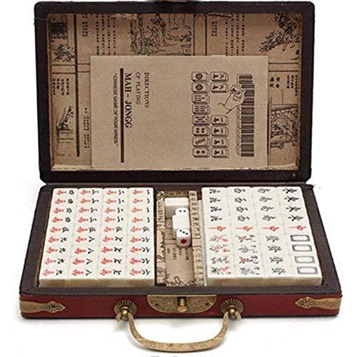 IDE Play Mah Set - 144 Azulejos Chinos de Mahjong Juego Mahjong Juegos Tradicionales del Club Set Family Games,22x15x12mm