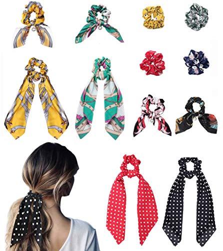 CASSIECA 12 Stück Boho Bowknot Haargummis Vintage Floral Schal Scrunchies Seidenchiffon Chiffon Satin Pferdeschwanz Inhaber Mit Polka Dot Haarschmuck Seile für Frauen