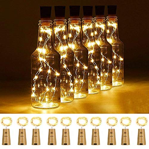 FANSIR Wine Bottle Lights with Cork, 10 Pack 20 Led Battery Operated LED Cork Shape Copper Wire Fairy Mini String Lights for DIY, Party, Decor, Wedding Indoor Outdoor(Warm White)