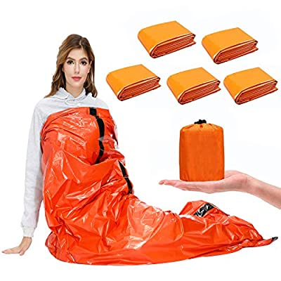 SAINUOD Survival Sleeping Bag, Waterproof Emergency Mylar Blanket Bivy Sack, with Lightweight Portable Nylon Sack for for Camping Hiking Outdoor Adventure Activities(5 Pack)