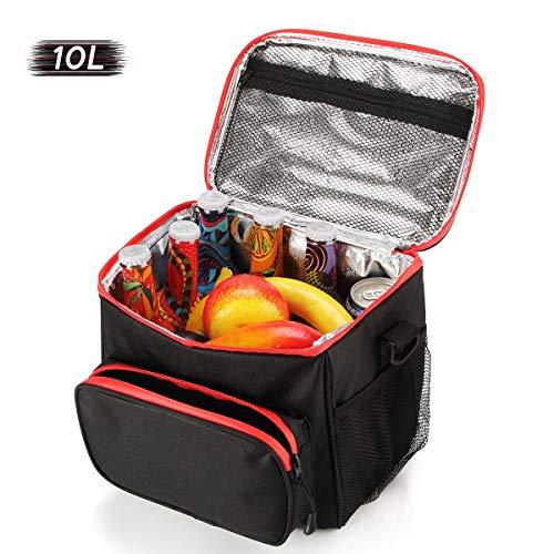 Faltbar Kühltasche, isoliert Picknicktasche, mittagessen Tasche damen männer, zum arbeit schule strand camping grillfeste einkaufen reisen10L, Schwarz