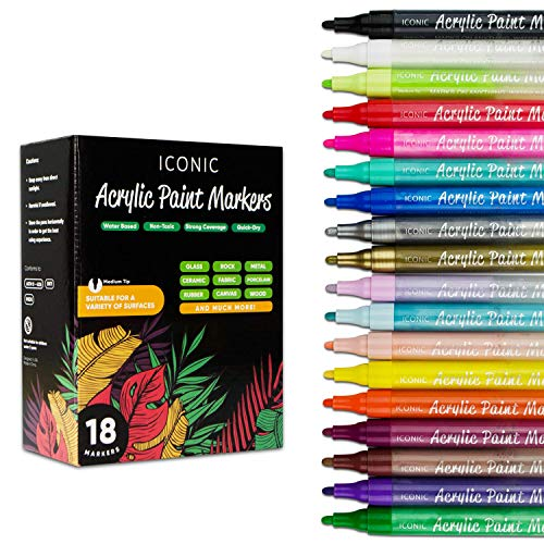 Acrylic Marker Paint Pens by ICONYC - Reversible Nib Colors Paint Markers for Stone, Glass, Wood, Fabric, Canvas - Water Based Paint Pens with Medium Tip (18)