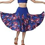 joyMerit Falda de Baile de Salón Latino con Columpio Grande para Mujer Faldas de Flamenco de Vals Azul Real