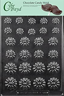 Cybrtrayd Life of the Party F106 Daisy Assortment Flower Chocolate Candy Mold in Sealed Protective Poly Bag Imprinted with Copyrighted Cybrtrayd Molding Instructions