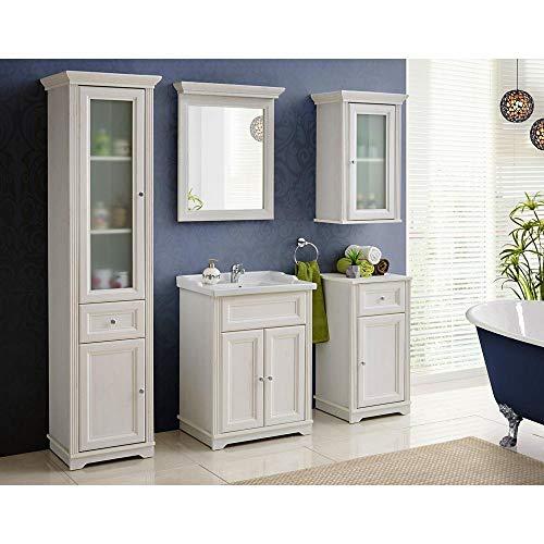 Lomadox Badmöbel Komplett Set Pinie weiß im Landhausstil, 60cm Waschtisch-Unterschrank mit Keramik-Waschbecken, Spiegel, Hochschrank, Hängeschrank und Unterschrank