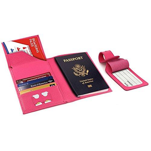 Otto Angelino Echtleder Reisepasshülle - RFID Schutz mit Flugticket-Fach und Gepäck-Anhänger (Rosa)