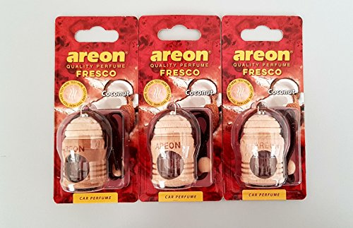 AREON 3 X Haute qualité de Voiture Parfume Airfresher Fresco différents Parfum - Noix de Coco