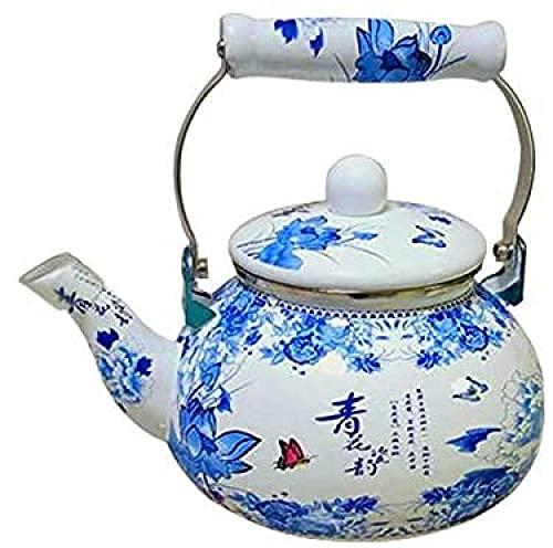 2.4L Retro Esmalte Hervidor Azul Y Blanco Porcelana Té Set Vino Cafetera Inducción Cocina Hogar Cocina Fría Hervidor Leche Jarra