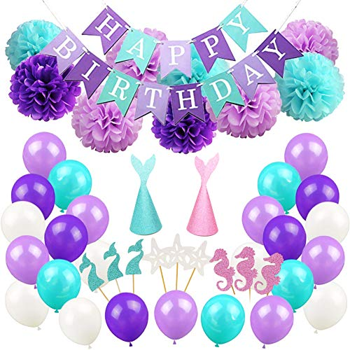 Mermaid Birthday Party Supplies and Decorations Kit,Happy Birthday Banner,9pcs Pom Poms Flowers,24pcs Glitter Cupcake Toppers,2pcs Glitter Mermaid Party Hats,40 Latex Balloons for Kids Party Favors