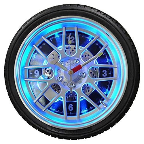 qwertyuio Relojes de Pared Reloj de Pared silencioso de 14 Pulgadas con luz - Reloj de Pared Moderno con Llantas - para decoración de Moda para el hogar (Negro)
